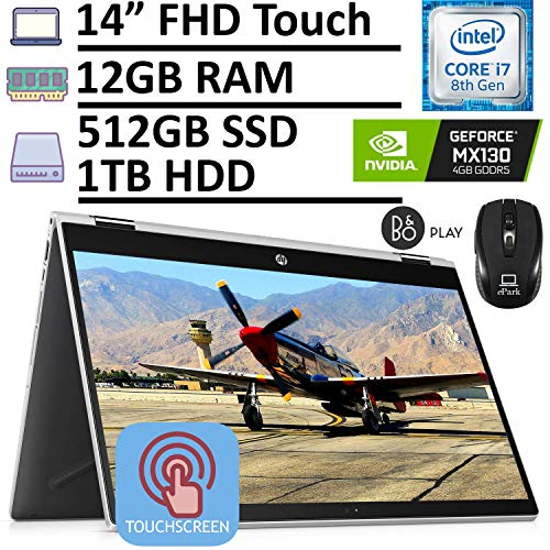 2020 Latest HP Pavilion X360 2-in-1 Convertible Laptop, 14' FHD Touchscreen, 8th Gen Intel Core i7-8565U 12GB RAM 512GB SSD + 1TB HDD GeForce MX130 4GB, Backlit KB Win 10 + ePark Wireless Mouse