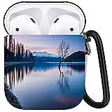 PANILUR Funda Protectora para Airpods, Ese árbol de Wanaka en Sunset Tree en Nueva Zelanda Wanaka, Nueva Zelanda, Funda para Airpods 1 y 2 con Llavero, Funda Personalizada para Auriculares inalámbric