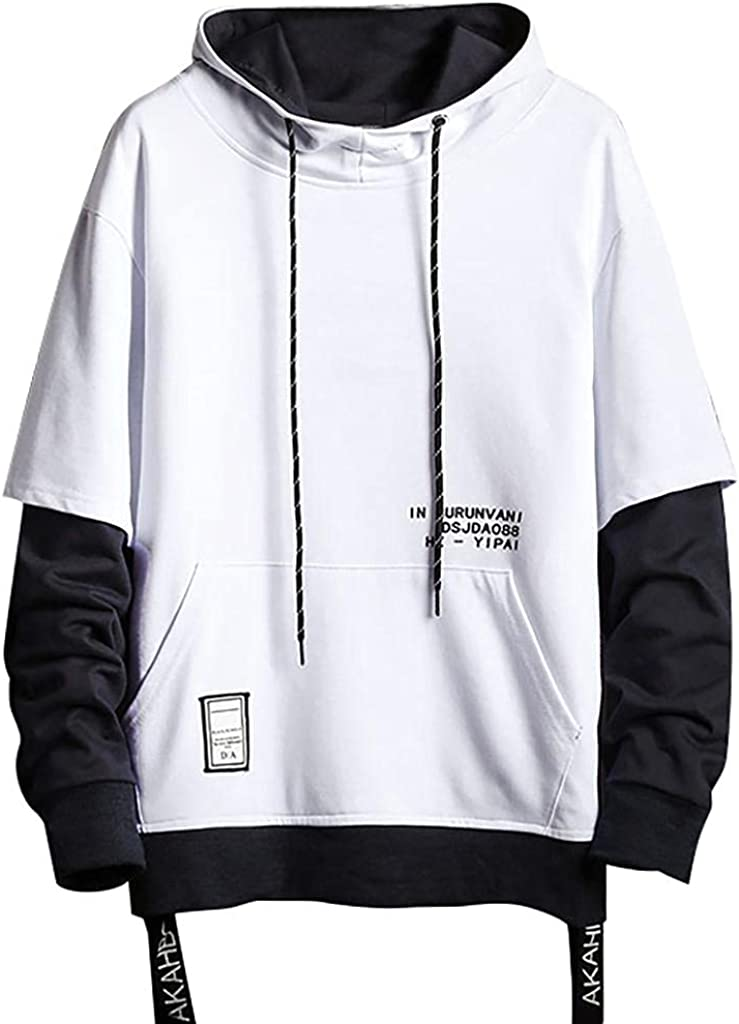 Sweatshirts Mens Crewneck - Contrast Color Pullover Hooded Patchwork Loose Men Casual Fashion Hoodies Tops Shirts