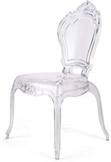 Belle Style Ghost Chairs Dining Room Chair - Clear Accent Seat - Lounge No Arm Arms Armless Less Chairs Seats Higher Fine Modern Designer Artistic Set of Four (4)
