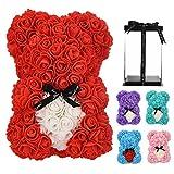 Oso de rosa, rosa de peluche, flores artificiales para siempre, el mejor regalo para mujeres, regalos para novia, regalos para ella, regalo de cumpleaños (rojo)