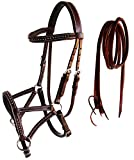 CHALLENGER Horse Western Leather Tack Studded Bitless Sidepull Bridle Reins Mahogany 77RS03BR
