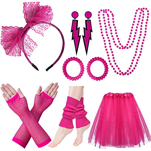 Women's Pink 1980s Accessories Set with Skirt, 5 Color Choices.
