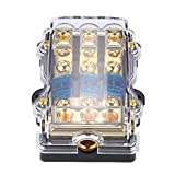 Fused Power Distribution Block, 1 in 3 Way Distribution Block ANL Fuse Holder,Max 24V 60A Zinc Alloy Plastic Case Fuse Box for Car Stereo Amplifier