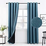 Anjee 63 Inches Long Blackout Linen Curtains for Bedroom 100% Room Darkening Blue
