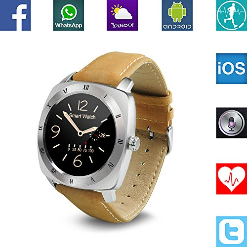 Banaus® B3 IP53 Waterproof Sport Fashion Smartwatch with Heart Rate Monitor Bluetooth 4.0 for Samsung S4/S5/S6/S7/Note3/Note4/Note5/Note6 Sony LG Xiaomi Huawei ZUK for iPhone 5/5C/5S/6/6S Silver