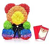Rosen Bär, Blumenbär, Rosen Teddybär, Teddy aus Rosen 40 cm Rosenteddybär, Rosenbär aus Blumen, Flower Bear, Rose Bear, Flower Teddy - jeweils mit Glückwunschkarte für eine liebevolle Widmung (Bunt)