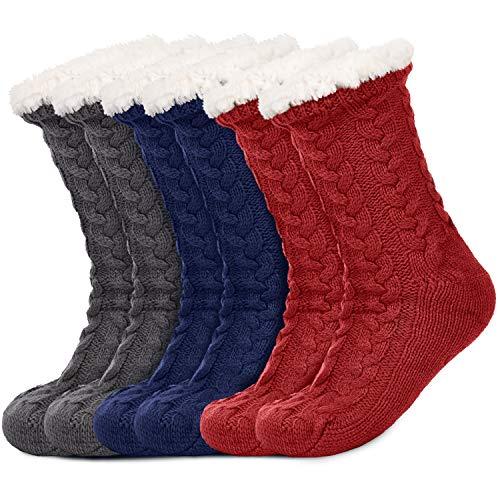 3 Pairs Women's Warm Slipper Socks Christmas Fuzzy Socks Fleece-lined Non Slip Slipper Socks (Blue, Grey and Red)