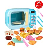 Microondas de Juguete con luz y Sonido 28PCS con alimentos falsos incluidos,Juego de microondas de cocina Toy Kitchen,juegos de simulación para niños pequeños: ideal para niños de 3 años en adelante