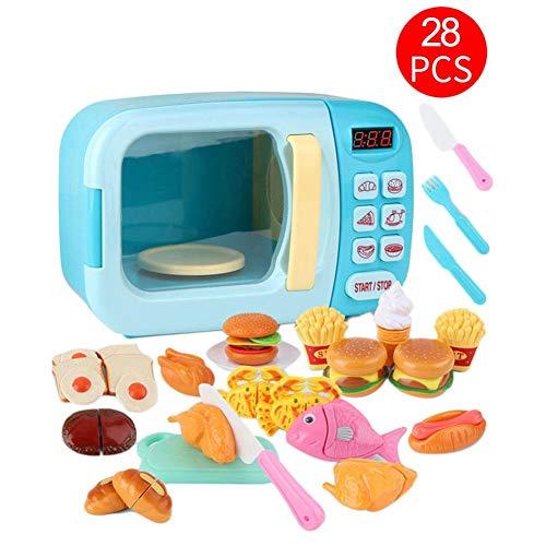 Microondas de Juguete con luz y Sonido 28PCS con alimentos falsos incluidos,Juego...
