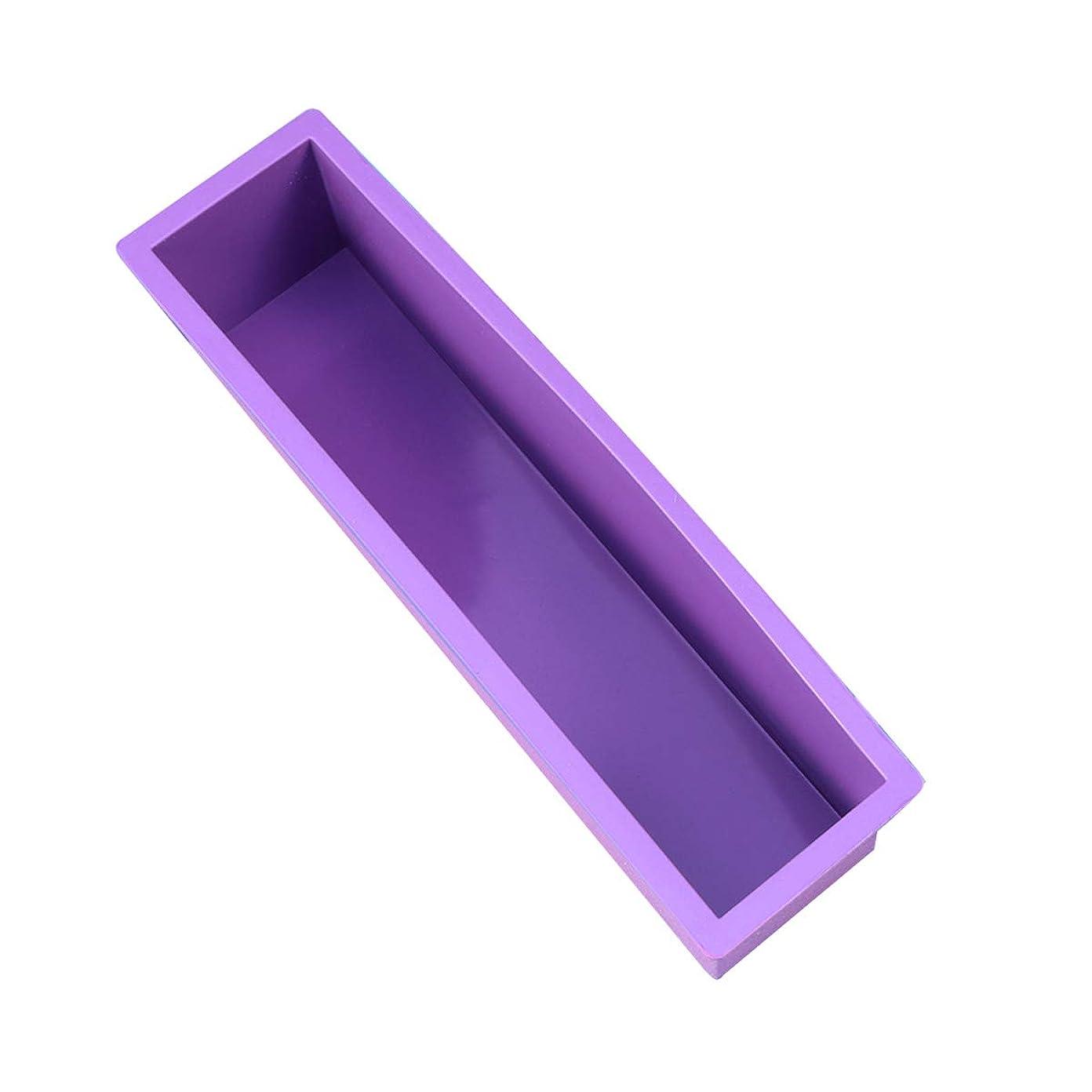 スラム街啓示余分なHealifty DIYの石鹸金型スクエアラウンドオーバル金型木製ボックスサイズなしの手作り金型 - S(紫)