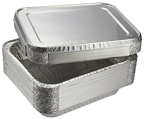 Juvale Aluminum Foil Pans - 20-Piece Half-Size Deep Disposable Steam Table Pans with Lids for Baking, Roasting, Broiling, Cooking, 12.75 x 2.25 x 10.25 Inches