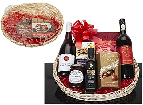 Ossian Make Your Own Hamper Kit - Deluxe Wicker Colour Gift Basket Set with Straw Wrapping Ribbon - Add a Personal Touch with Friends Family Colleagues this Xmas Christmas (Oval Natural)