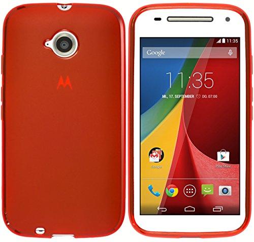 kazoj Schutzhülle kompatibel mit Motorola Moto E 2. Generation Hülle aus TPU in rot