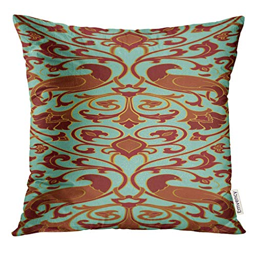 HCKZ Throw Pillow Cover Blue Rich Floral Pattern Filigree for Bedspread Shawl Carpet and Any Color with Birds and Flower Brown Decorative Pillow Case Home Decor Square 18x18 Inches Pillowcase