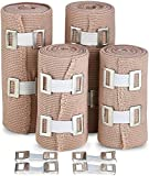 Elastic Compression Bandage Wrap - Premium Quality (Set of 4) with Hooks, Athletic Sport Support...