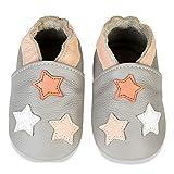 scarpe neonato scarpine primi passi morbida pelle scarpine prima infanzia suola scamosciata carino colorate animali 0 a 24 mesi(grigio chiaro stella, 12-18 mesi)