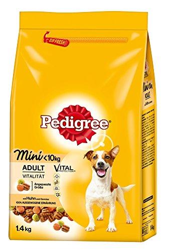 Pedigree Hundefutter Trockenfutter Adult Mini für kleine Hunde <10kg mit Huhn und Gemüse, 6 Beutel (6 x 1,4kg)