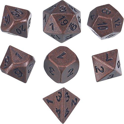 TecUnite Antik Kupfer Massiv Metall Polyedral 7-Die Würfel Set Rolle Spielen Spiel Würfel Set D20 D12 D% D10 D8 D6 D4 für Dungeons und Dragons, RPG Dice Gaming, D & D, Mathematik Lehre