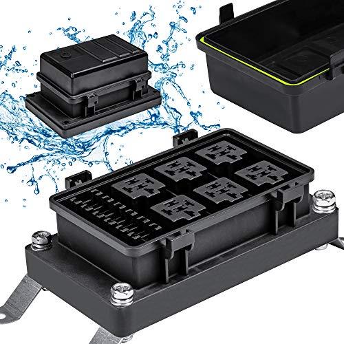 12V Auto Waterproof Fuse Relay Box Block [6 Bosch Style Relay Holder] [6 ATC/ATO Fuse Holder] Universal Relay Block Box for 12V Automotive Vehicles Cars Marine Boat Light Equipment