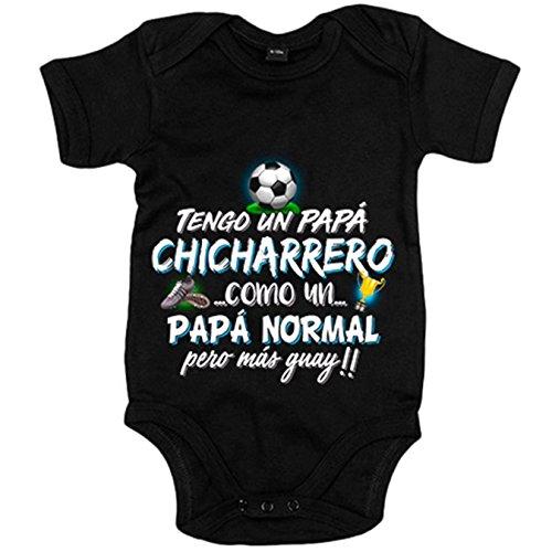 Body bebé tengo un papá Chicharrero como un papá normal pero más guay - Negro, 12-18 meses