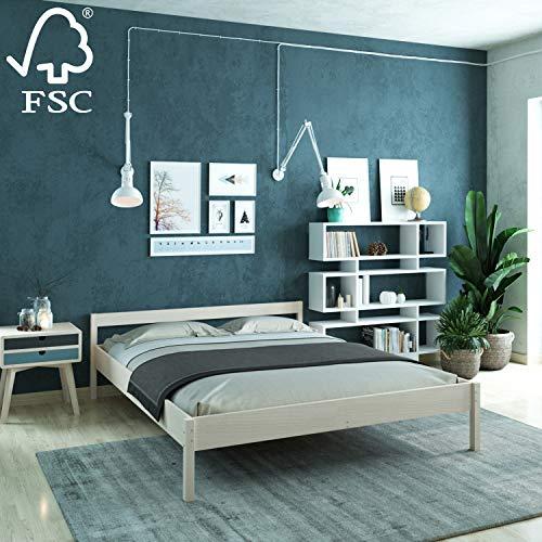 Holzbett 180x200 cm Kaja aus unbehandeltem hartem FSC Birken Massivholz - über 700 kg - Doppelbett Bettgestell mit Kopfteil - Ehebett