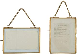 Creative Co-Op Turn of the Century 2 Piece Brass and Glass Picture Frame Set,Gold,5