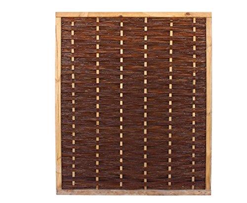 bambus-discount.com Weidenwand Mia mit 140x120cm in Premium Qualität aus gekochter Weide, Holz gebeizt