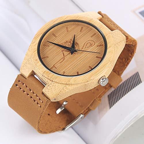 Uhren Fashion Persönlichkeit Big Round Dial Bambus Shell-Uhr mit Lederband Asun (Color : Color8)