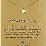 Collar de Cadena 1PC Amistad Infinity brújula Collar Suerte Pequeño Elefante Colgante, Collar de la Buena Suerte con la Tarjeta de Mensaje (Oro)