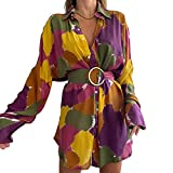 Vestido Casual de Mangas Largas para Mujer Vestido Corto de Camisa de Cuello Solapa con Botones y con Cinturón Ajustable Vestido con Patrón de Colorido de Mujer para Playa Fiesta Cita (Multicolor, L)