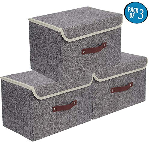 Storage Bins 3 Pack Foldable Storage Boxes with Lids Storage Baskets Storage Containers Organizers with Handles (Grey)