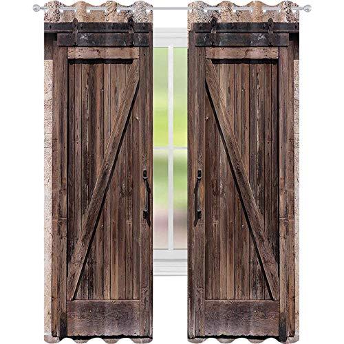 Cortinas opacas de alta resistencia, puerta de granero de madera en piedra imagen de granja vintage desgin arte rural arquitectura, 52 x 95 para dormitorio, jardín de infantes, sala de estar, beige