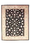 Nain Trading Indo Täbriz 302x238 Orientteppich Teppich Dunkelgrau/Rosa Handgeknüpft Indien