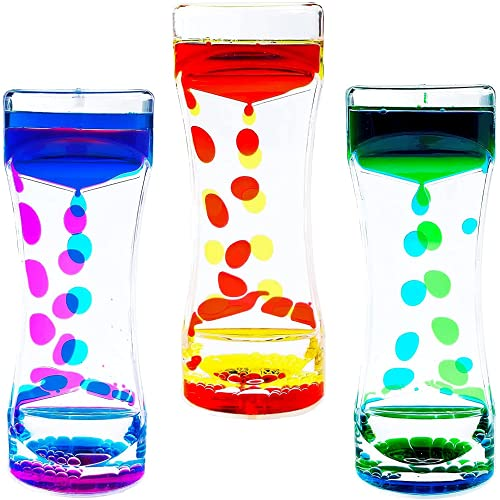 DOTSOG Liquid Motion Bubbler Timer 3 Pack Hourglass Liquid Bubbler Timer for Sensory Play Toy Children Activity Calm Relaxing Desk Toys Anxiety Toys Autism Toys ADHD Cool Desk Décor