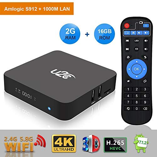 U2C Android TV Box 7.1 2gb Ram+16gb ROM 2018 Newest【Amlogic S912 Octa Core】 64 Bit 4K Full HD H.265 2.4G/5G Dual Band WiFi 1000M LAN BT 4.1 Z Plus Smart TV Box with LED Display
