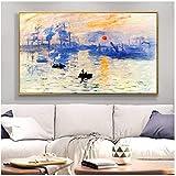 Impresión de Claude Monet amanecer paisaje famoso pintura al óleo sobre lienzo réplica de arte póster cuadro de pared para sala de estar