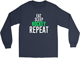 Venley Eat Sleep Hockey Repeat Unisex Long Sleeve Tee