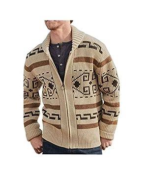 Jeffrey Lebowski Sweater The Dude Cosplay Costume Khaki Zip Up Cardigans for Men  Large Khaki