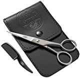 Best Mustache Scissors - Beard and Mustache Scissors w/Comb and Synthetic Leather Review