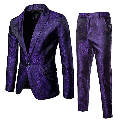 WHSHINE Mode Herren Anzug Suit Blazer Manner Slim Fit Business Hochzeit Party Anzüge 3-Teilig Anzugjacke Anzughose Weste,One Blazer Set Smoking Jacke Weste & Hose (L, Lila)
