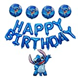Lilo and Stitch Balloons,16 inch Happy Birthday Balloons Aluminum Foil Letters Banner Balloons for Stitch Party Supplies and Birthday Decorations