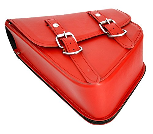 Lowest Prices! Left Side Leather Motorcycle Solo Bags Swingarm Bag For Softail Rk-208L (Red)