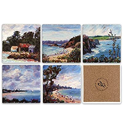 Floral Ceramic Tile Coaster For Drinks Set of 6, 4 x 4 inches - Square Table Coasters for Drinks with Cork Backing, Stain Resistant, Sweat Proof, Decorative Drink Coasters