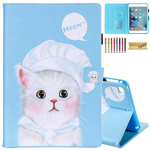 Casii Case for iPad Mini 5 2019, iPad Mini 4 Case 2015, Premium PU Leather Folio Stand Smart Magnetic Cover with Auto Wake/Sleep Card Slots for 7.9 inch Apple iPad Mini 1 2 3 (Cute Cat)