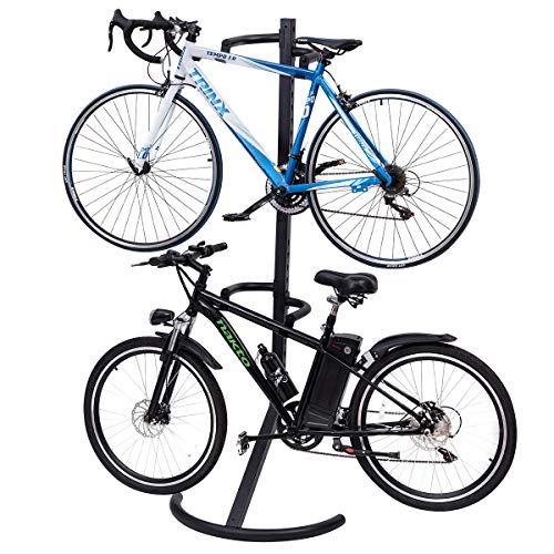 Goplus Gravity Freestanding Bike Stand Adjustable Height Two-Bike Storage Rack Heavy Duty for Bicycle Parking with 100lbs Weight Capacity