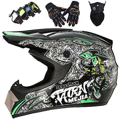 Casco Moto Bambini, MJH-01 Casco da Cross Unisex Integrale per Fuoristrada Downhill Enduro MTB Quad Casco da Motocross Set con Guanti Occhiali Maschera - S-XL / 52-59cm