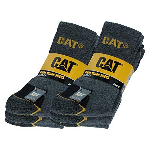 Caterpillar 6 Paare Herren-Arbeitssocken CAT Unfallverhütung Verstärkt an Ferse und Spitze mit verstärktem Schuss Garn von ausgezeichneter Qualität Baumwollschwamm (Anthrazit, 43-46)
