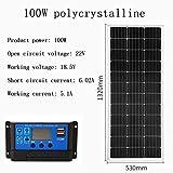 ZSPSHOP Tablero De Carga Solar 50~300W Panel Solar Monocristalino/Policristalino Controlador 12V Sistema De Generación De Energía Fotovoltaica Doméstica,100Wpolycrystalline