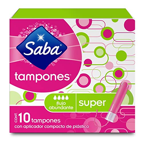 Saba Saba Tampón Con Aplicador Compacto; Absorción Súper/ Flujo Abundante; 10 Piezas, color, 10 count, pack of/paquete de